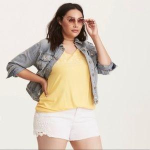 Torrid White Jean Shorts w/ Crochet Sides